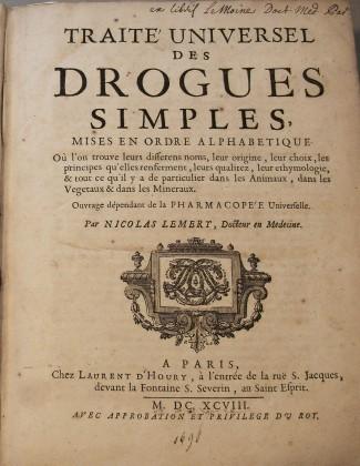 """""""Traitè Universel Des Drogues Simples""""  -1698 –"""