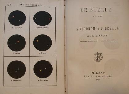 """""""Le Stelle. Saggio di astronomia siderale"""" di ANGELO  SECCHI  –  1877  –"""