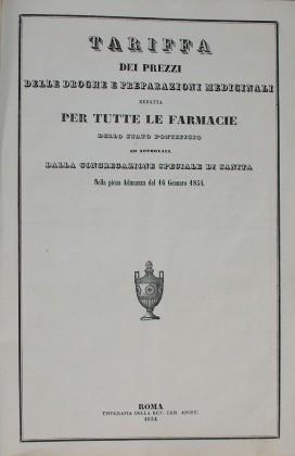 """""""Tariffa dei prezzi delle droghe e preparazioni medicinali""""  1854"""