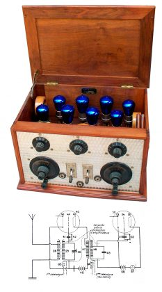 "Radio-ricevitore ""Lucien Levy"" Mod. 'A'. Circuito supereterodina, con 8 valvole blu ""Grammont"". Francia 1926"