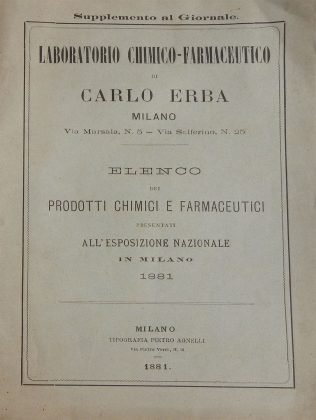 Catalogo prodotti chimico-farmaceutici Carlo Erba. Milano 1881